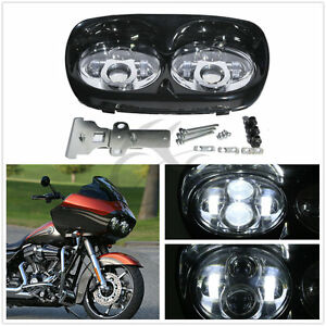 Dual-LED-Headlight-Projector-Lamp-For-Harley-Davidson-Touring-Road-Glide-98-13