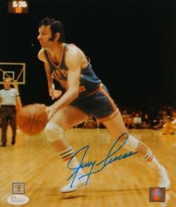 Jerry-Lucas-Autographed-New-York-Knicks-8x10-Dribbling-P-F-Photo-JSA-W-Auth
