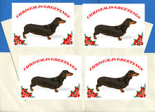 DACHSHUND SMOOTH PACK OF 4 CARDS DOG PRINT GREETING CHRISTMAS CARDS