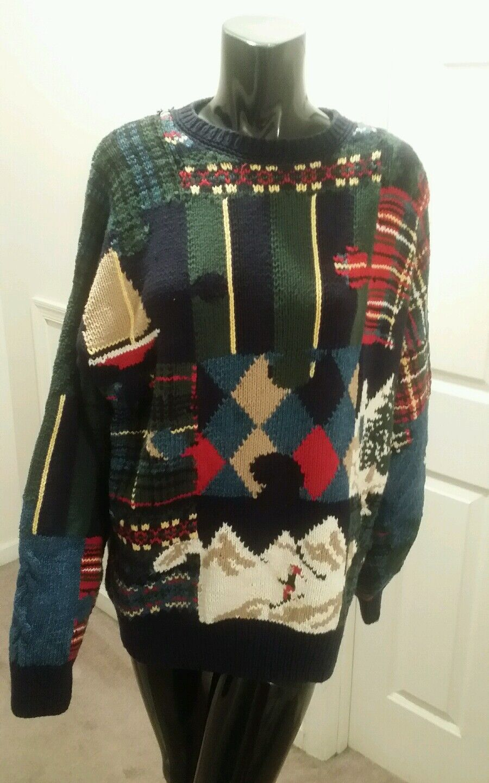 Nautica Rare Vintage HandKnit Sailboat Ski Scene Sweater Size XL