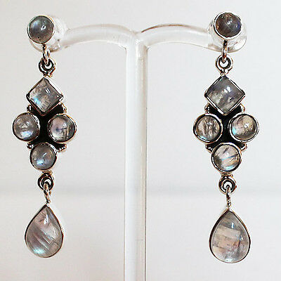 925 Sterling Silver Semi-Precious Natural Stone Drop Earrings - Moonstone