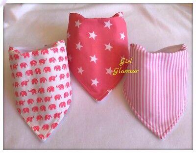 Bandanna Dribble Bib made with Pale Pink Stars material