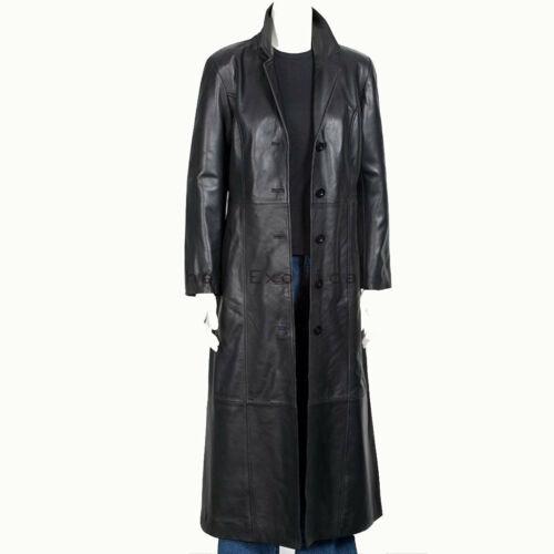 Leather Trench Long Coat Men Winter Outwear Classy Genuine Lambskin Black Jacket