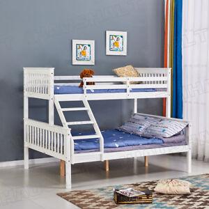 Children Triple Sleeper Wooden Bunk Bed Frame 4ft6 Double Bottom 3ft