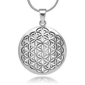 Silver flower of life pendant necklace sacred geometry 793166879251 image is loading silver flower of life pendant necklace sacred geometry aloadofball Choice Image