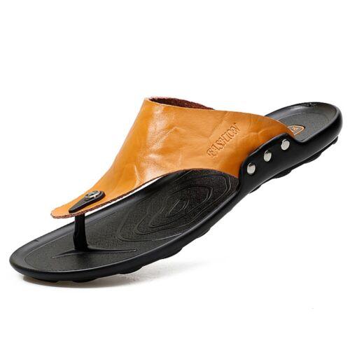 Mens Summer Open Toe Sliders Slipper Slip On Garden Beach Shoes Non-slip Leather