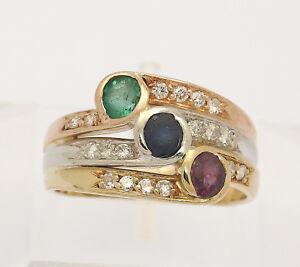 Ring-18kt-750-Gelb-Weiss-Rose-Gold-mit-Rubin-Saphir-Smaragd-Brillanten-Brillant