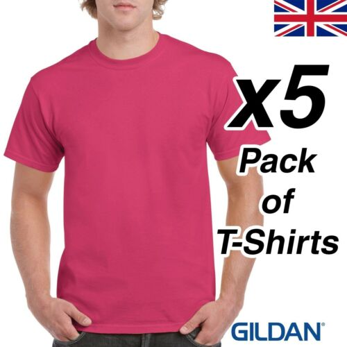 Mens Bright Pink T Shirt 5 Pack Gildan Heavy Cotton Heliconia Tee Plain Cheap UK