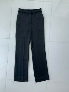 Sandro-Paris-Black-Satin-Fringe-Waist-Wide-Leg-Dress-Pants-SZ-36-XS-0-2