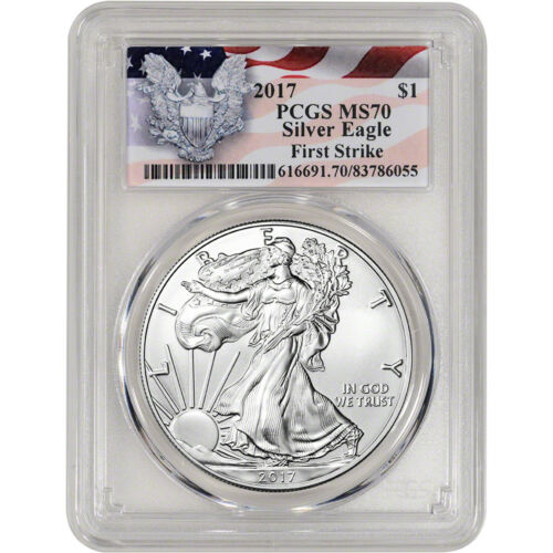 First Strike 2017 American Silver Eagle PCGS MS70 Red Flag Label