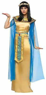 Deluxe Cleopatra Costume Womens Adult Gold Blue Long Fancy Dress Egyptian Queen