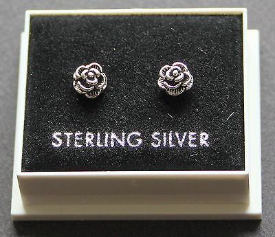 STERLING SILVER 925  STUD EARRINGS ROSE FLOWER  BUTTERFLY BACKS STUD 76