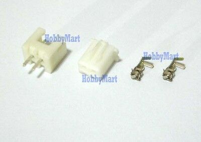 50 SETS 2.5MM XH 2-Pin JST Connector Housing Plug ( Male, Female, Crimps )