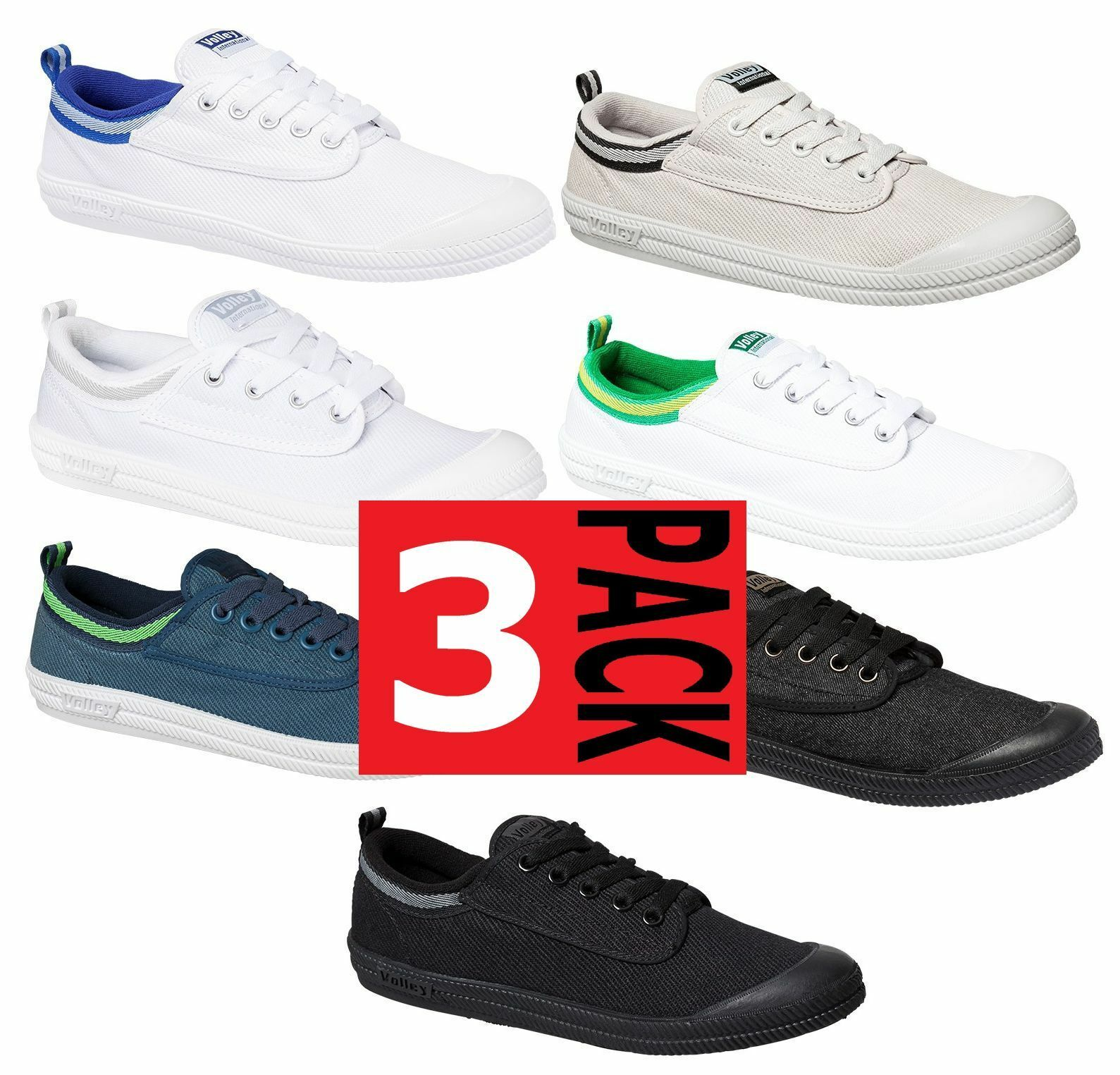 3 x MENS DUNLOP VOLLEYS INTERNATIONAL CANVAS VOLLEY WHITE blueE BLACK GREEN SHOES