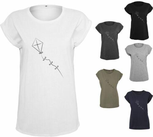 Damen T-Shirt Drachensteigen Extended Shoulder Tee mit Turnup Ärmeln bis Übergrö