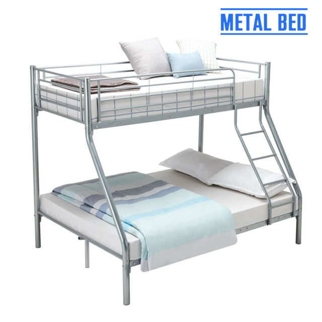Silver 3ft Single 4ft6 Double Metal Bunk Bed Frame for 3 Sleepers ... 3d6459013