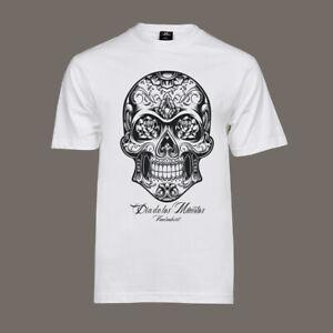 T-Shirt-Dia-De-Los-Muertos-Lucha-Libre-Tattoo-Bike-Hot-Rod-Totenkopf-V8-weiss