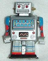 Robot Original All Metal Tin Wind-up Lastone Sci-fi Mintnbox 3.5tall Has Brass