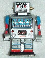 """ROBOT ORIGINAL ALL METAL TIN WIND-UP LastOne! SCI-FI MINTnBox 3.5""""Tall HAS BRASS"""