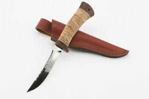 Handmade-Zlatoust-Russian-Fishing-Knife-Stainless-Blade-B-Bark-Handle-FISHERMAN