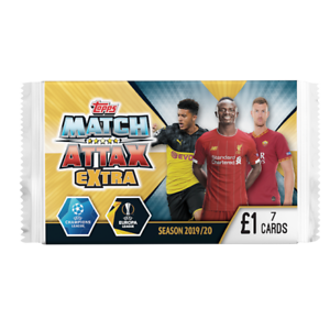 7 carte Pack TOPPS Match Attax Extra figurine di calcio 2019//20