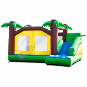 Inflatable Outdoor Moonwalk Jungle Bounce House Slide Kids Jump Castle Enclosure