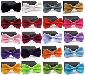 Men-039-s-Fashion-Tuxedo-Satin-Plain-Solid-Color-Adjustable-Wedding-Bowtie-Bow-Tie