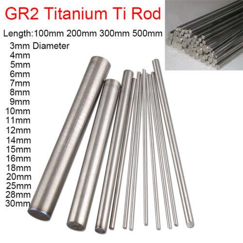 3 4 5mm 15mm Gr.2 Pure Titanium Ti Rod Round Bar Metal Shaft 100//200//300//500mm