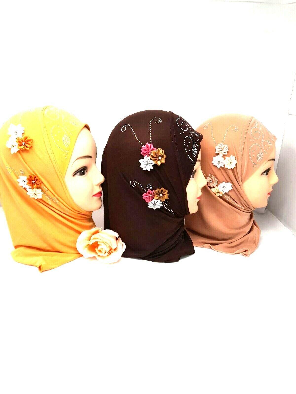 Kids Girls Muslim Hijab Islamic Arab Scarf Shawls With 6 Beautiful Flowers
