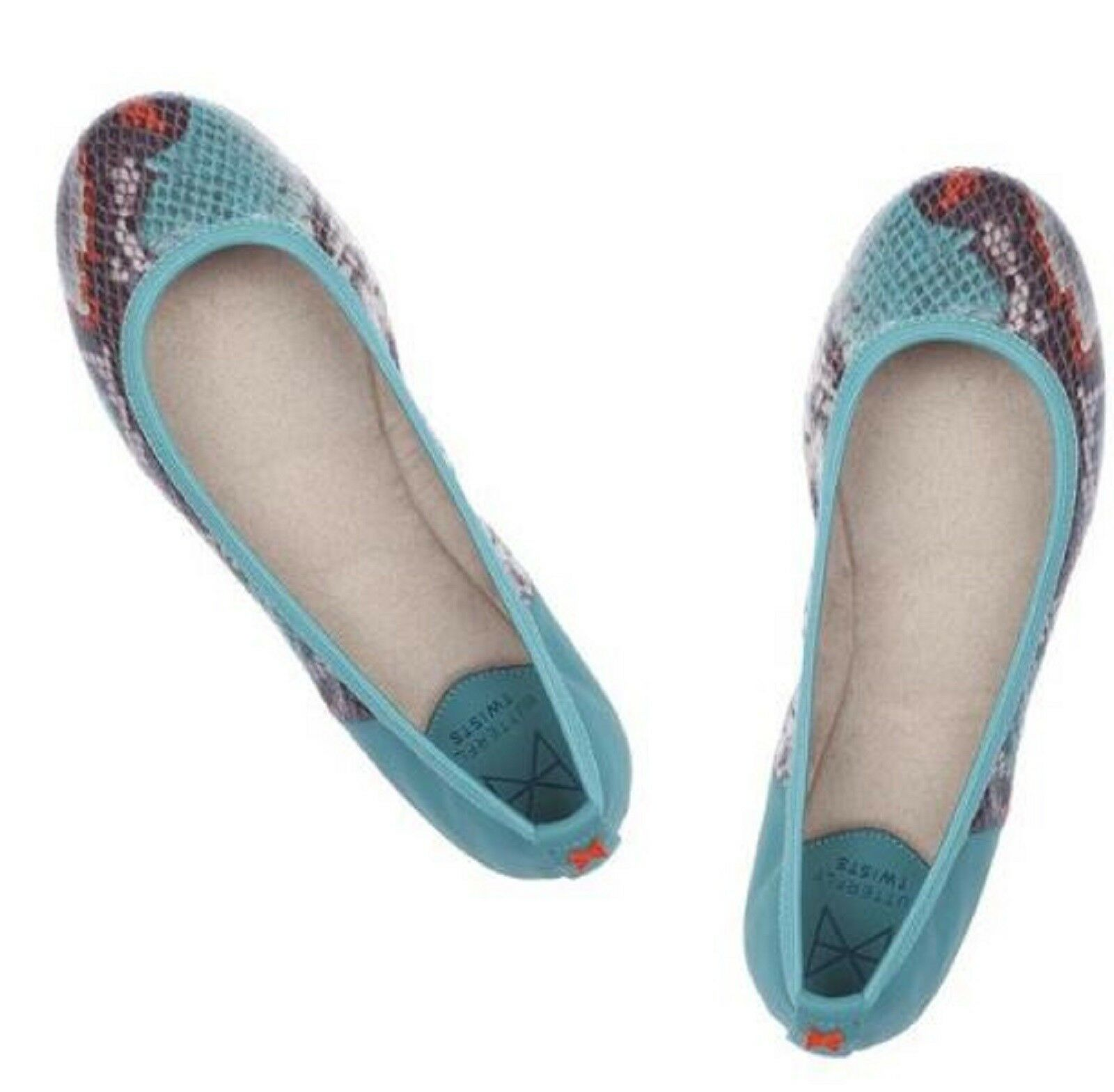 Butterfly Twists VIVIENNE Fold Up Ballet Flats TURQUOISE SNAKE 11 M (42) NIB