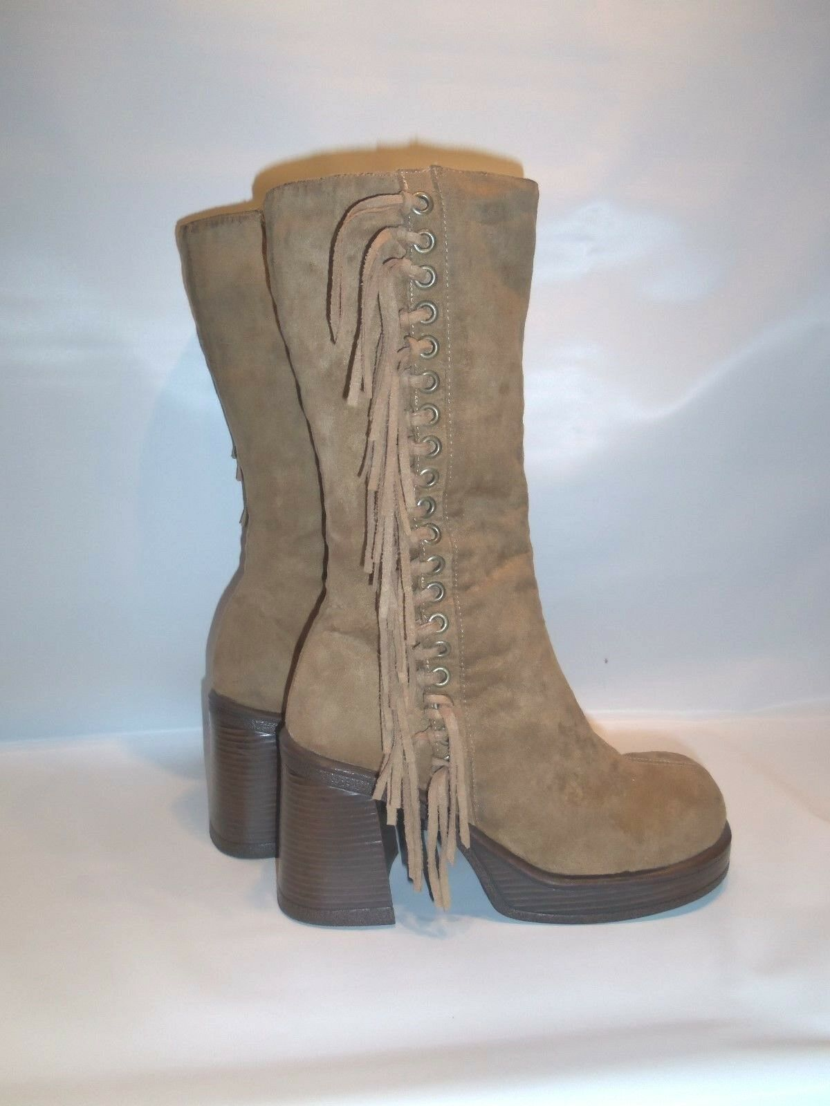 Vintage  SPASH   Women's Vegan Suede High Heel  Mid Calf Fringe Boot
