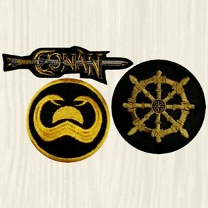 Details about Conan Patches Wheel of Pain The Barbarian Sword Logo Film  Snakes Embroidered
