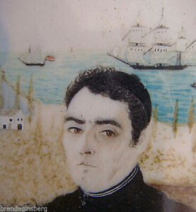 Georgian Miniature Portrait Painting Admiral Navy Ships Sea Governor (4294)