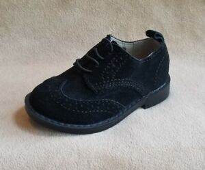 New-Toddler-Boys-Shoe-Size-7-BABY-GAP-Black-Suede-Wingtip-Oxford-Dress-Shoes