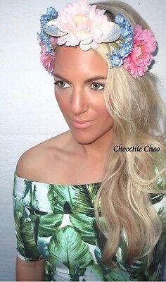 Flower Crown Sea Shell Beach Crochet Lace Hair Head Band Choochie Hippy Mermaid