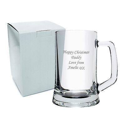 Personalised Glass Pint Tankard - Engraved Free - Christmas Gift, Anniversary