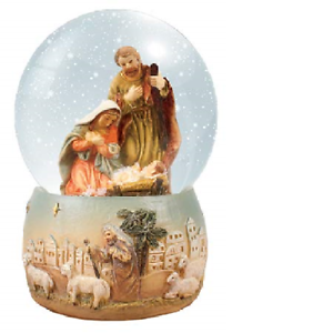 C bc Christmas Nativity scene snow globe gift waterball 4 inch Holy Family Jesus