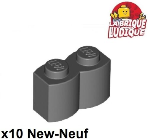 10x Brique Brick Modified 1x2 log palisade gris f//dark b gray 30136 NEUF Lego