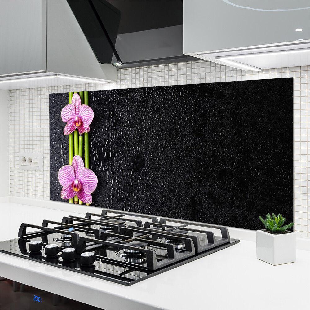 Cocina plano posterior de de vidrio ESG protección contra salpicaduras 140x70cm tubos de posterior bambú plantas de flores 793a00