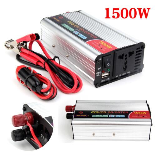1500W Car Caravan Power inverter DC 12V to AC 220V Sine Wave USB Converter