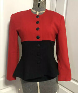 Vintage-Red-Black-Wool-Crepe-Peplum-Blazer-Statement-Jacket-Womens-Medium