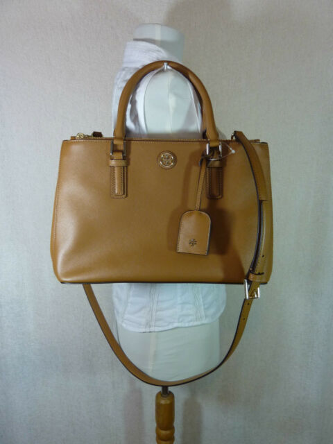 00be54e2d1c Tory Burch Tigers Eye Brown Saffiano Leather Robinson Mini Double-Zip Tote  $495