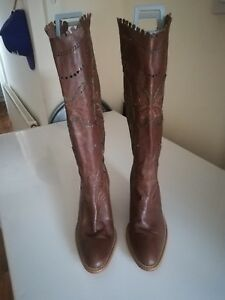 41 Boots Eu Calf Brown Size Next Uk Leather 7 Heel donnas Quality xqY1fpP