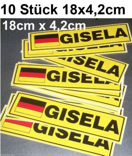 10x STICKER NAME GISELA AUFKLEBER AUTOAUFKLEBER AUTO DEUTSCHLAND NAMENSSCHILD