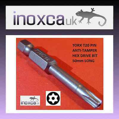 "10  T20 TX20 TITANIUM COATED Ti S2 CR-V TORX PIN HEXAGONAL BITS 1//4/"" HEX DRIVE"