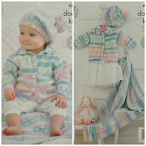 a7d5886e1695 KNITTING PATTERN Baby Easy Knit Jacket withCollar Beret Blanket DK ...