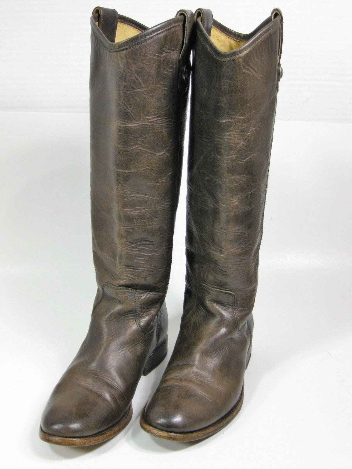 FRYE 3477172 SLT Women's Melissa Button Riding Boot Brown Leather Size 6 B