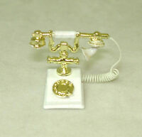 Dollhouse Miniature Ornate White French Telephone Phone With Removable Receiver