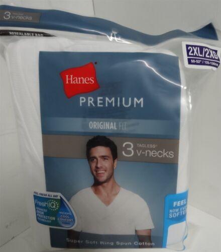Hanes Premium Men/'s V-Neck Tee 3 Pack-Blanc xxl