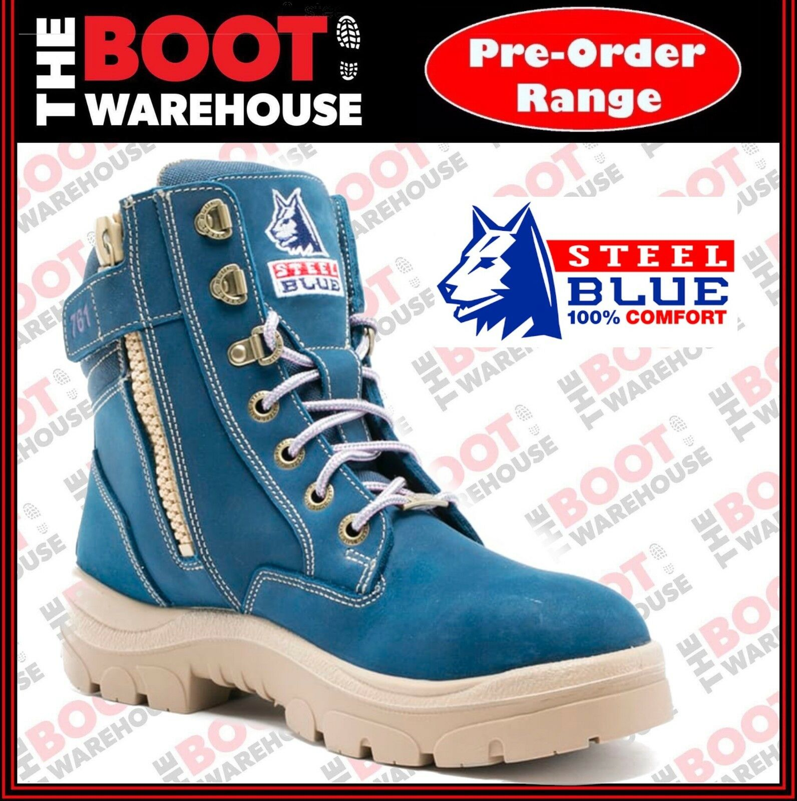 Steel azul 512761 Wohombres azul Southern Cross Zip, 150mm Ankle, Safety bota